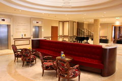 Luxury hotel lobby. Athenee Palace Hilton Bucharest, Romania Royalty Free Stock Photography