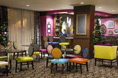 Luxury hotel lobby bar. A luxury hotel bar decorated with fancy furniture in Seattle stock image