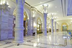 Luxury hotel lobby corridor hotel passageway stock photo