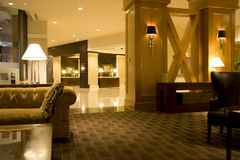 Luxury hotel lobby interiors lighting. Luxury hotel lobby with nice lighting and furniture Stock Images