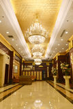Luxury hotel lobby. Lit by crystal lighting Royalty Free Stock Photo