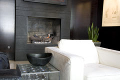 Luxury hotel lobby. A hotel lobby with nice furniture and fireplace Stock Images