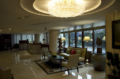 Luxury hotel lobby. Hotel lobby with nice lighting and furniture Stock Photography