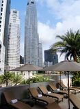 Luxury hotel pool area & view royalty free stock photography