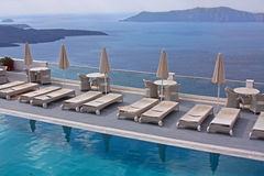 Luxury hotel - pool and sea Royalty Free Stock Photos