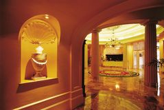 Luxury hotel reception hall. Luxury reception in a hotel entrance hall stock photo