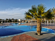 Luxury Hotel Resort Holiday Egypt Tropical. Swimming pools and palm tree near beach at luxury hotel before sunset. Marsa Alam, Egypt royalty free stock photo