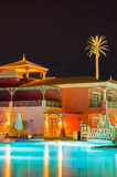 Luxury hotel resort at night in Egypt Royalty Free Stock Photo