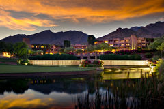 Luxury hotel resort at twilight royalty free stock image