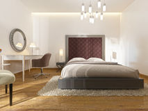 A luxury hotel room in art Deco. With a large bed, dressing table and TV unit. 3D render Stock Images