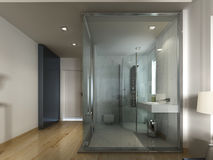 A luxury hotel room in a contemporary design with glass bathroom Royalty Free Stock Photo