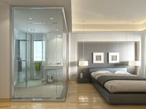 A luxury hotel room in a contemporary design with glass bathroom Stock Photo