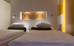 Luxury hotel room. With double beds Stock Photos