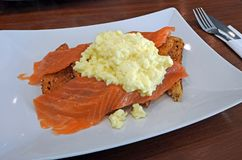 Luxury hotel salmon and eggs breakfast Stock Photo