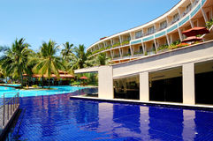 The luxury hotel with swimming pool Stock Images