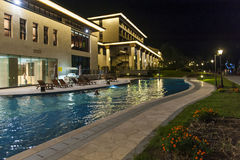 Luxury hotel and swimming pool Royalty Free Stock Images