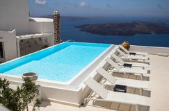 Luxury villa in Greece. Luxury hotel with swimming pool stock photo