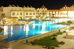 Luxury hotel territory at night Stock Image