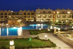 Luxury hotel territory at night Stock Image