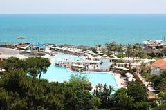 Luxury hotel. Luxury Turkish hotel on the Mediterranean sea Royalty Free Stock Photos