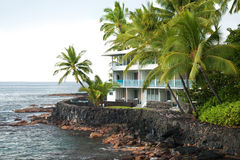 Luxury hotel on untouched volcano beach with palms trees and ocean in background royalty free stock images