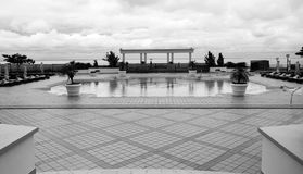 Luxury hotel view with clouds black and white Royalty Free Stock Image