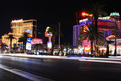 Luxury hotels in Las Vegas. Strip at night stock images