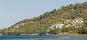 Luxury hotels. Many luxury hotels on mountainside and view ocean stock image