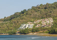 Luxury hotels. Many luxury hotels on mountainside and view ocean stock photo