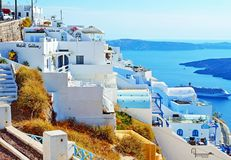 Luxury hotels sea views Santorini Cyclades Greece Royalty Free Stock Photo