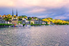 Luxury hotels at the waterfront of Lake Lucerne, Lucerne town, S Royalty Free Stock Photography