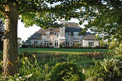 Luxury House. With garden and trees Royalty Free Stock Images