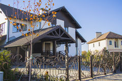 Luxury house with beautiful iron fence and car parking Royalty Free Stock Images
