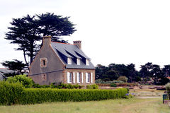Luxury house in Brittany. Luxury granite house along the sea in the Pink granite coast in Cote d'Armor in Brittany in France Stock Photo