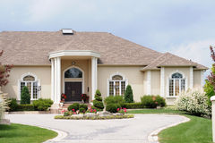 Luxury House with a circular d. New Luxury House, with a circular driveway Stock Photo