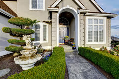 Luxury house exterior. Entrance porch view Royalty Free Stock Images