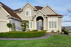 Luxury house exterior. Entrance porch view Royalty Free Stock Image