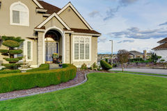 Luxury house exterior. Entrance porch view Stock Images