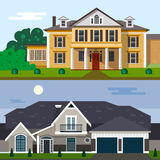 Luxury house exterior vector illustration in flat style design. Home facade and yard.  royalty free illustration