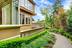 Luxury house exterior. Walkway Royalty Free Stock Images
