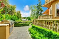 Luxury house exterior. Walkway Stock Photography