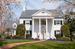 Luxury house with front lawn near Washington. Upscale family house with front yard in suburbs of Washington (Maryland, USA). Photo was taken in April, 2011 Stock Photography