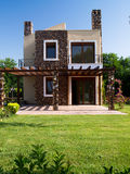 Luxury house on Greek coast. On a sunny day stock image
