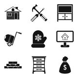 Luxury house icons set, simple style. Luxury house icons set. Simple set of 9 luxury house vector icons for web isolated on white background stock illustration
