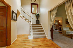 Luxury house interior. Hallway with staircase Stock Photography