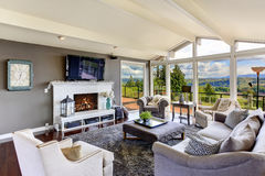 Luxury house interior. Living room with beautiful view Stock Photography