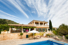 Luxury house in Mallorca. Spanich real estate of Mediterranean seashore, Mallorca Stock Images