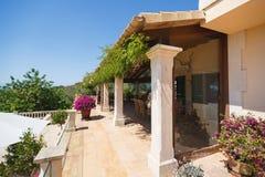 Luxury house in Mallorca. The terrace of the Spanish home nearby the Mediterranean Sea, Mallorca Stock Photos