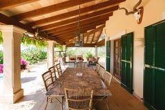 Luxury house in Mallorca. The veranda of the Spanish home nearby the Mediterranean Sea, Mallorca Royalty Free Stock Photos
