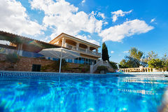 Luxury house in Mallorca. View of the typical Spanish house from the pool, Mallorca Royalty Free Stock Photography